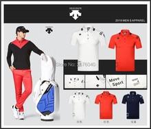 Для мужчин с коротким рукавом DESCENTE футболка для гольфа, 3 цвета, одежда для гольфа, S-XXL в выборе отдыха тенниска Бесплатная доставка