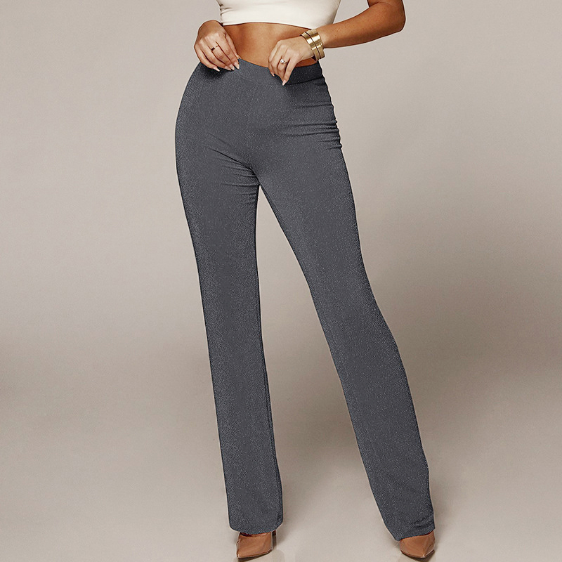 2019 Womens Glitter Solid Color High Waist Loose Trousers Leisure Pants