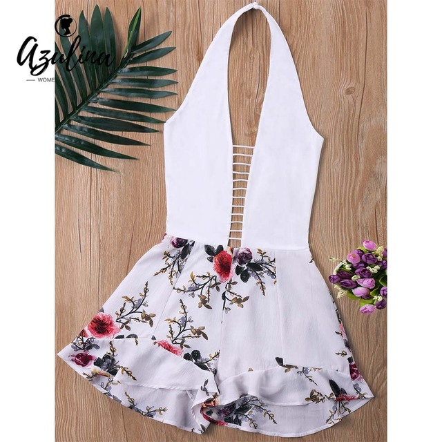 09fd504fb40 AZULINA Ladder Low Cut Halter Romper Women Jumpsuit Summer Mini Overalls  White Top With Floral Pattern Shorts Playsuit Rompers