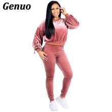Genuo Autumn Winter 2 Piece Outfits for Women Sweatsuit Velvet T Shirt Top+Pant Suit Two Matching Sets Velour Tracksuit