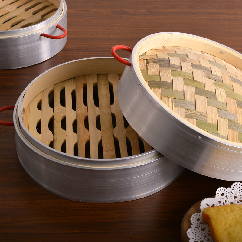 Household Bamboo Steamer Deepening Chinese Dessert Aluminium Alloy Steamed Buns Dumpling Bamboo Cage Drawer Canton Morning Tea