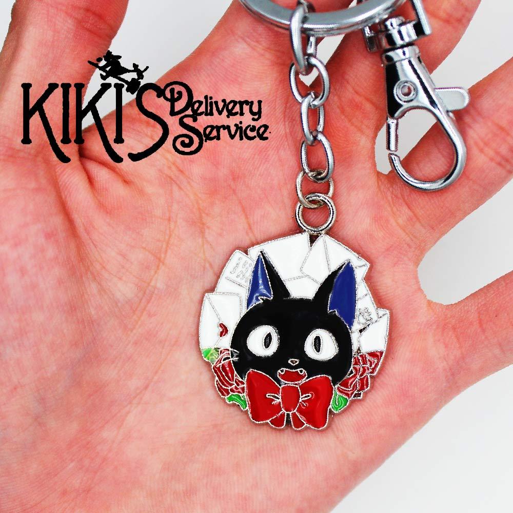 Wellcomics Anime Ghibli Kiki's Delivery Service Jiji Cat Symbol Metal Handmade Pendant Keychain Keyring Ornament Cosplay Gift