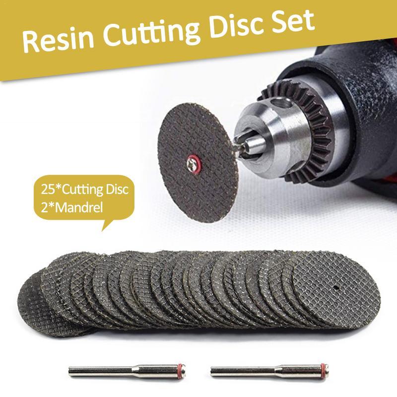 25 PCS Resin Cutting Disc Set Mesh Saw Blade Electric Grinder Fittings Connecting Clamp Bar Metal Cutting Wheel Discs Kit Set