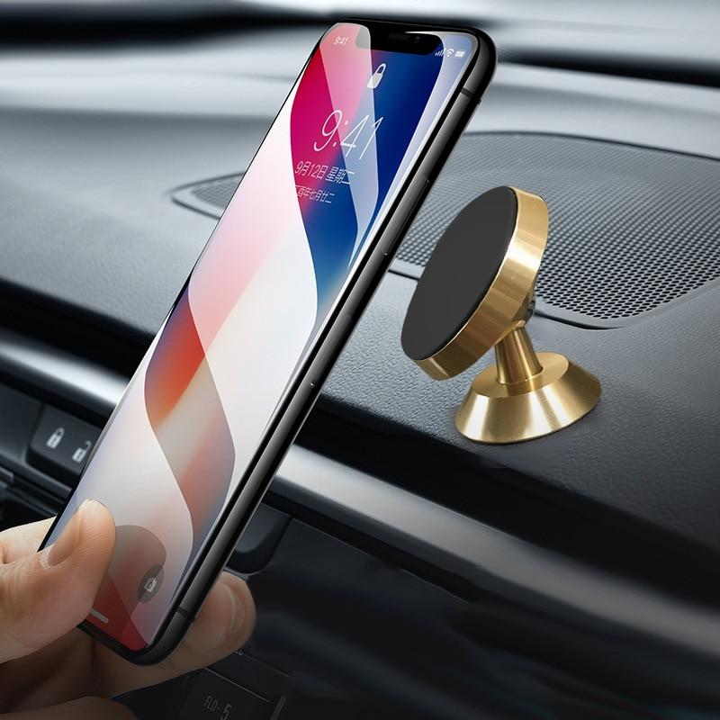 Magnetic Car Phone Holder 360 Degree Metal Bracket Car Universal Mobile Phone Holder Support Self-Priming Magnet Car Accessories