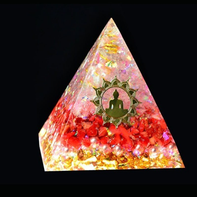 AURA REIKI Orgonite Pyramid Muladhara Chakra Ariel Natural Crystal Onyx Resin Crafts Accumulate Wealth Home Decoration Gifts