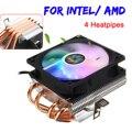 RGB CPU Cooler 4 tubos de calor con 90mm 3pin CPU ventilador refrigeración disipador de calor para LGA 775/1150/1151 /1155/1156/1366 para AMD AM2 +/AM3 +/AM4