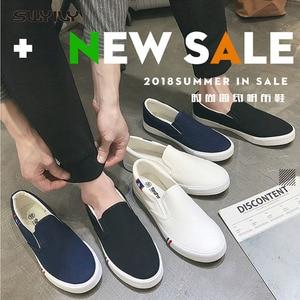 Image 5 - Swyivy 2018 Voorjaar Nieuwe Mannen Canvas Schoen Vulcaniseer Sneakers Platte Witte Schoenen Voor Mannen/Vrouwelijke Zwarte Sneakers 35 44 Size Slip Op