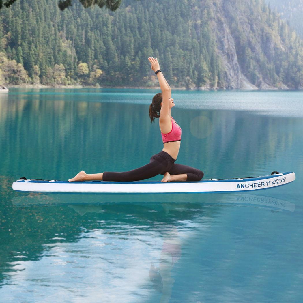 Double-couche Planche de Surf Tout usage support réglable Up Paddle Gonflable 1000D Brossé Planche De Surf Paddle Board 330x80x18 cm - 2
