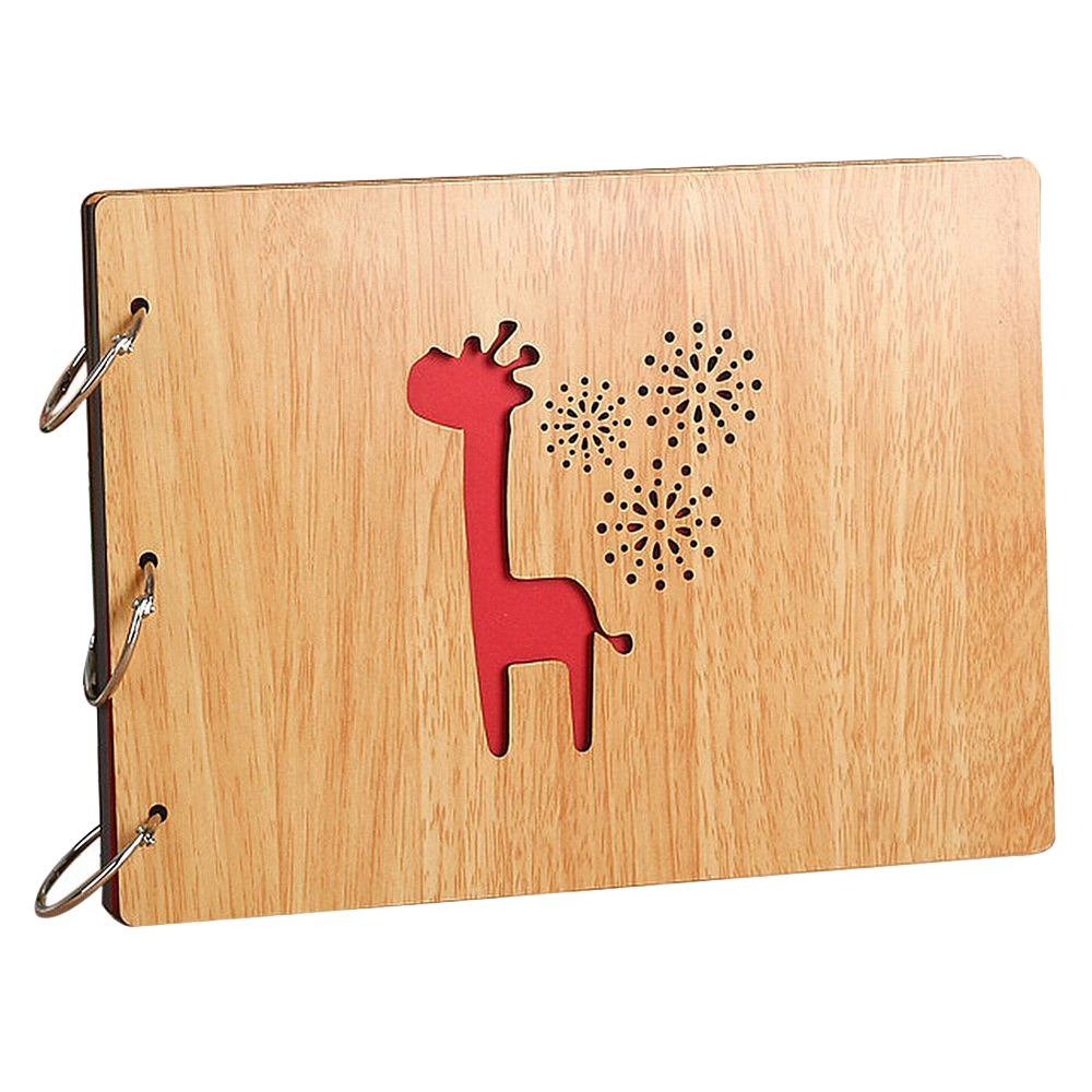 Photo Album DIY 8 X 10 Inch Self-adhesive Black Pages Scrapbooking Hollow Wood Cover Anniversary 3-Ring Binder Scrapbook