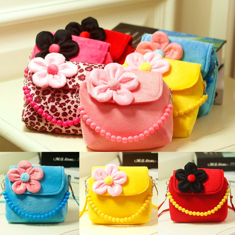 2019 Brand New Lovely Baby Girls Kids 3D Flower Mini Zipper Shoulder Messenger Purse Bag Leopard Candy Color Coin Purses Gift(China)