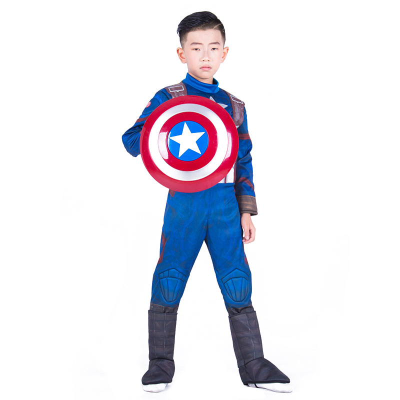 Boy Halloween Captain America Cosplay Muscle Fancy Dress The Avengers Man Of Steel Superhero Super Hero Costume