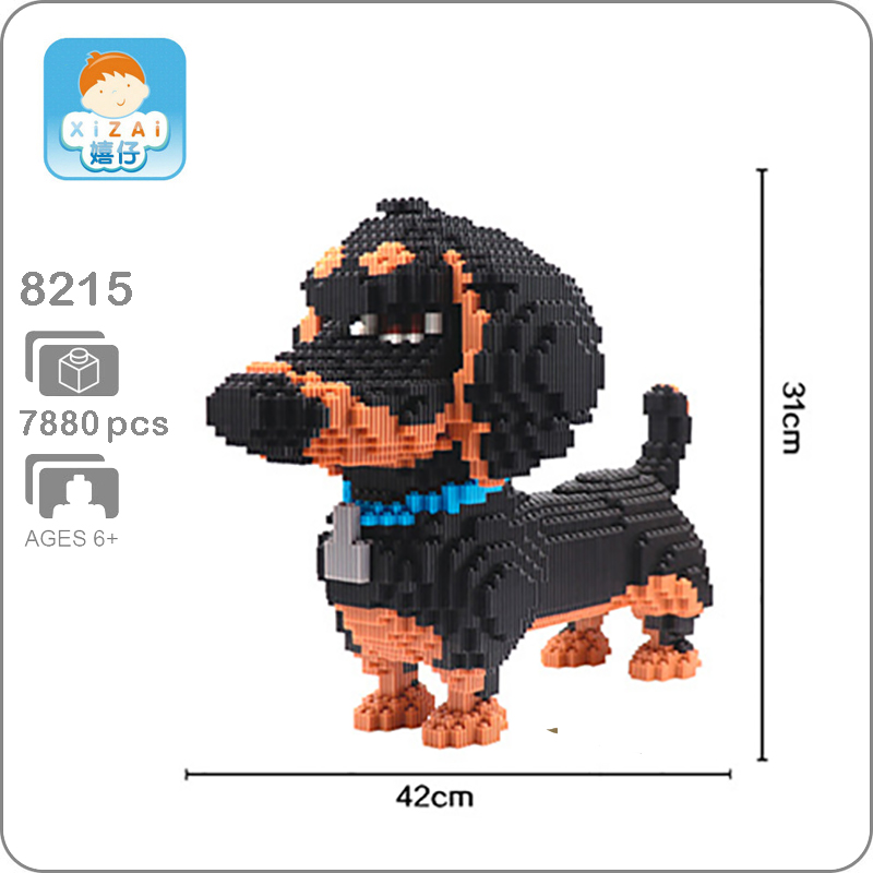 Xizai 8215 Dachshund Pet Dog Black Animal Micro DIY 3D Model 7880pcs Mini Building Blocks Bricks Assembly Toy 31cm tall no BoxXizai 8215 Dachshund Pet Dog Black Animal Micro DIY 3D Model 7880pcs Mini Building Blocks Bricks Assembly Toy 31cm tall no Box