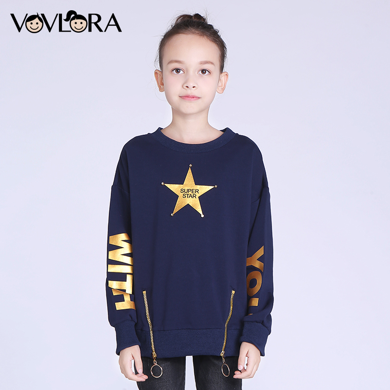 Children sweatshirt tops O-neck Cotton fashion girls sweatshirts Print Letter&Star kids clothes winter size 7 8 9 10 11 12 years letter print raglan hoodie