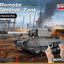 Новое поступление пульт дистанционного управления Танк комплект из нержавеющей стали сборка RC Военный танк набор кирпичей совместим с моделью строительные блоки