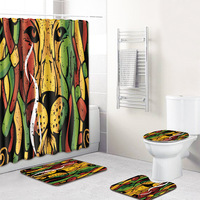 colorful lion animal printed Shower Curtains Set Polyester Bathroom Curtain 180x180cm With Bathroom Mat Set