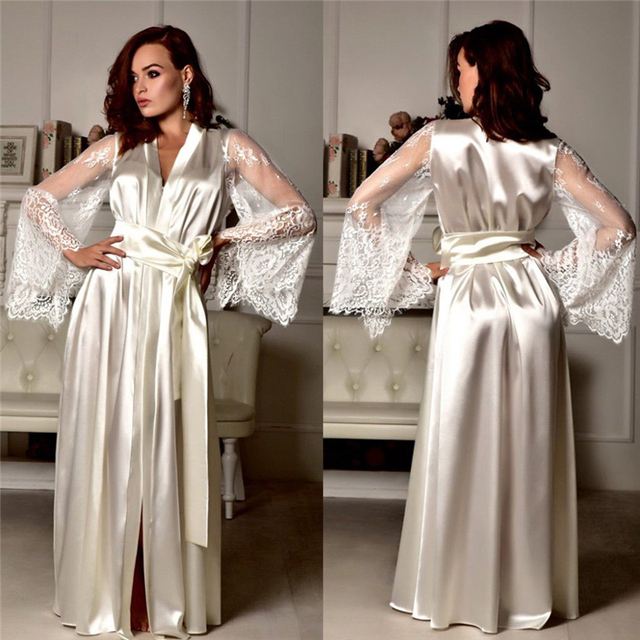 Ladies Solid Sexy Long Maxi V-Neck Lace Sleepwear Women Nightdress Lingerie Babydoll Nightgown Underwear