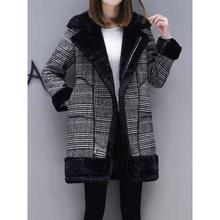 Plaid Woolen Coat Women Winter Thicken Fleece Overcoat Korean Fashion Fake Fur Warm School Street Girl Casual Black Outerwear(China)