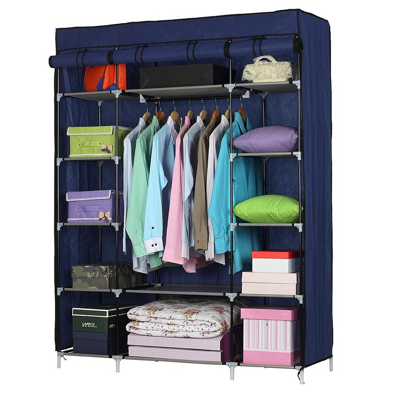 US $21.38 13% OFF|Non woven wardrobe fold Portable Storage furniture  Cabinet bedroom furniture wardrobe bedroom Clothing Organizer 5 Layer US-in  ...