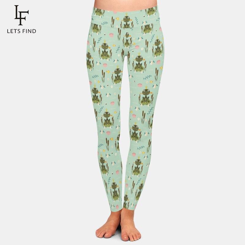 LETSFIND New Arrival Cartoon Frog Print High Waist Women Legging High Elastic Milk Silk Fashion Plus Size Casual Leggings