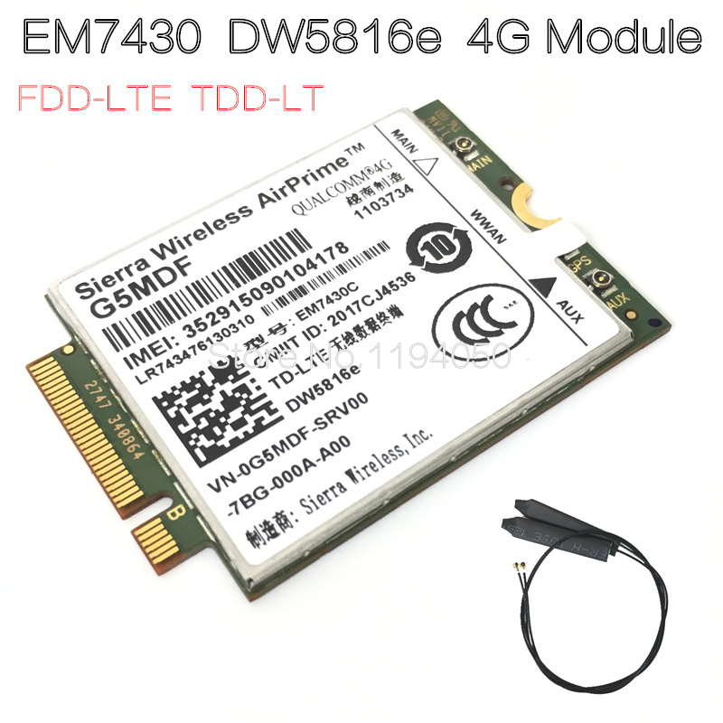 купить EM7430 DW5816e GOBI6000 4G card LTE DW5816e for Dell Latitude 7280 7285 7290 7389 7390 7480 7490 E7470 Cat6 300M 4G module по цене 4894.46 рублей