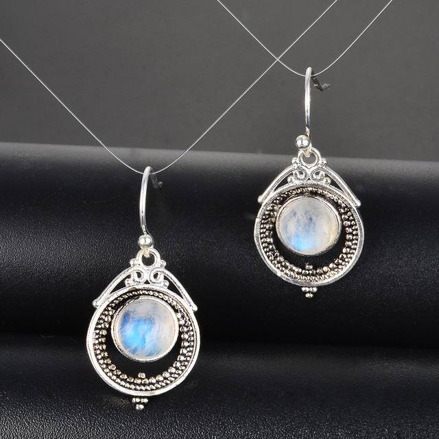 Natural Moonstone Drop Earrings