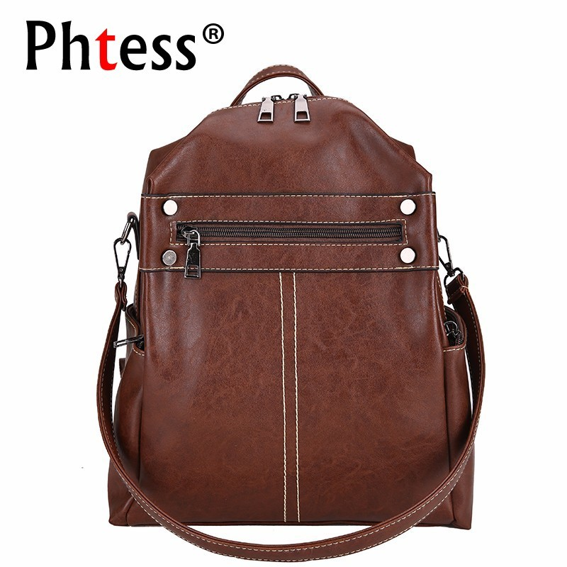 2019 Women Leather Backpacks High Quality Vintage Bagpack Preppy Style Large Capacity Bagpack Solid School Bags For Girls New