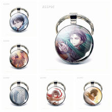 Anime Attack on Titan Keychain Levi Rivaille Ackerman Eren Emblem Scouting Legion Pendant Glass Cabochon Car Key Chain Key Ring стоимость
