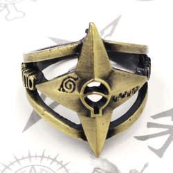 Япония Аниме Наруто shuriken логотип кольцо унисекс косплей аксессуар кольцо Дети подарки металлический Бронзовый Кольцо Ручной работы 18 мм
