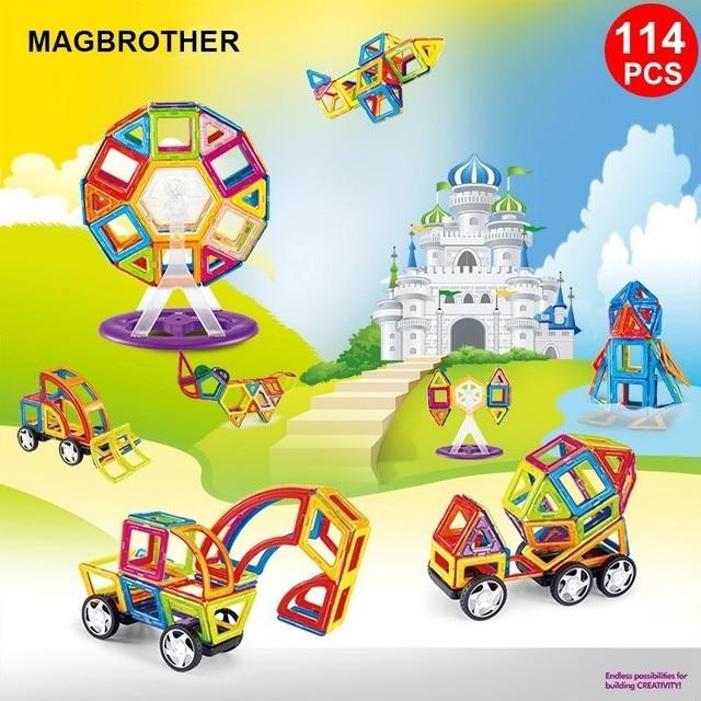 114PCS Magnetic Building Blocks Educational Tiles Kit  Magnet Designer Construction Toys Building Set For Kids Gfit MAGBROTHER