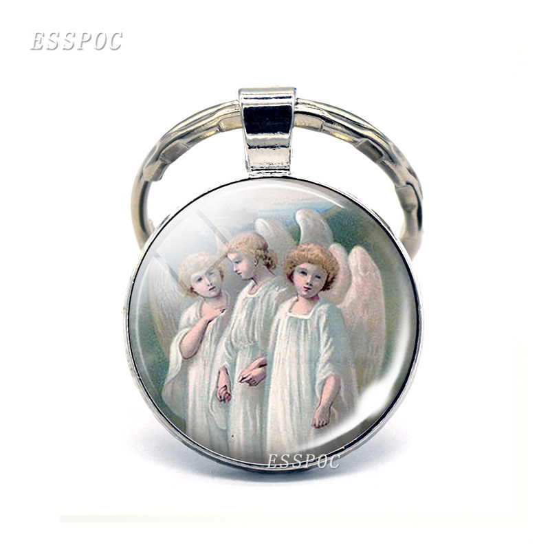 Oliwy z oliwek z pierwszego tłoczenia i anioł brelok maryi panny wisiorek ze szklanym kaboszonem się w kategorii breloczki aniołów metalowy brelok do kluczy moda biżuteria dla kobiet mężczyzn prezent