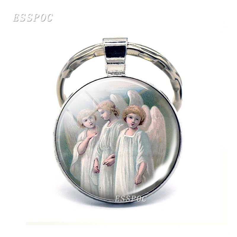 Vergine e Angel Portachiavi Vergine Maria di Vetro Cabochon Ciondolo Portachiavi Angeli Catena Chiave del Metallo Gioelleria raffinata e alla moda per Gli Uomini del Regalo Delle Donne