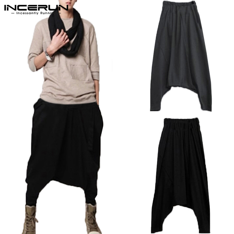 Chinese Mens Harem Pants Solid Drop Crotch Cross-pants Baggy Trousers Pantalon Fitness Joggers Sweatpants Fashion Mens Clothes