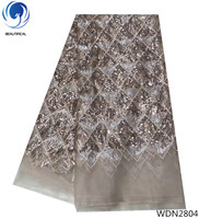 Beautifical nigerian sequins lace fabric 2018 high quality tulle lace fabrics shiny lace dresses for party 5yards/lot WDN28