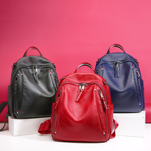 2019 Genuine Leather Girls Backpack Shoulders Bag For Women Daily Travel Female Fashion Women's Daypack Bags Ladies Backpacks famous brand england style women backpack natural cowhide ladies daypack backpacks travel bags genuine leather back pack w09770