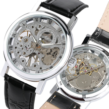Fashion Transparent Skeleton Watch for Men Hand Wind Mechanical Wristwatch for Teenagers Leather Strap Watches Gift with Box ik coloring original men s skeleton dial auto mechanical orange pu leather strap watches box gift free ship