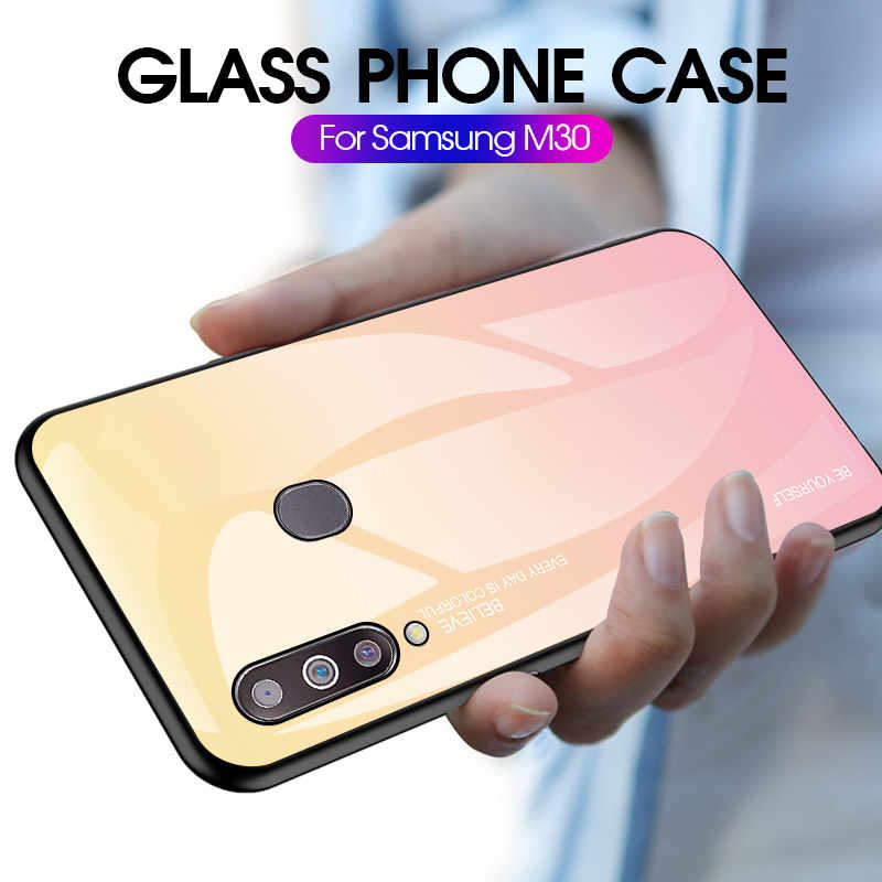 Gradient Tempered Glass Phone Case for Samsung A50 A40 A60 A70 A20E A10 A30 Cover M30 M20 M10 Coque Galaxy S10 Plus/E S9 S8 Capa