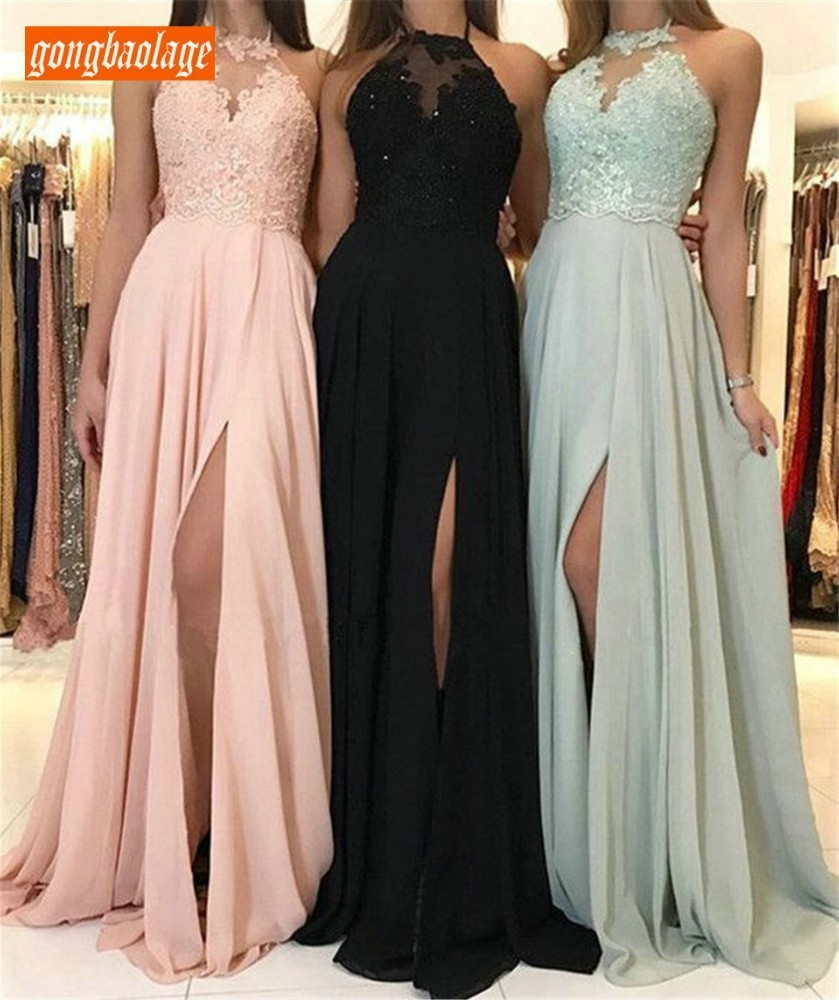 Elegant Pink Long   Evening     Dress   Halter Neck Backless High Split Lace Chiffon Formal Party   Dresses   2019 Custom Made Prom Gowns