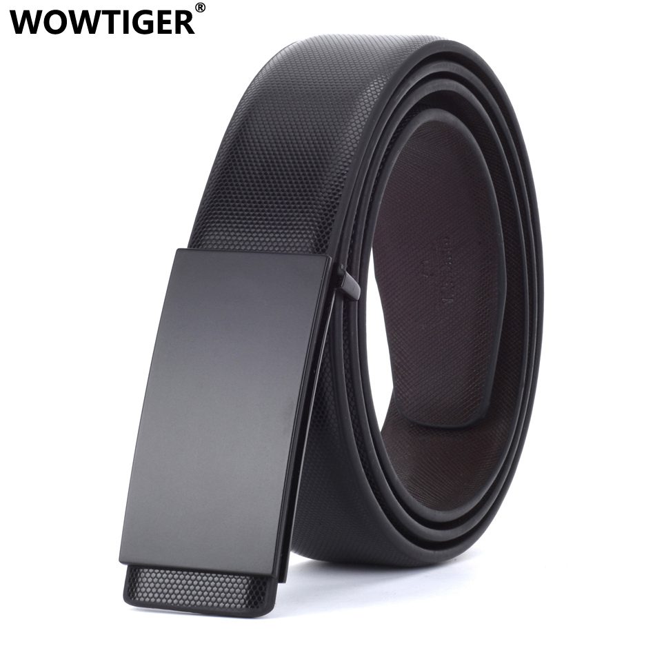 WOWTIGER Men's Designer Luxury Black Buckle Smooth buckle Leather Trousers accessories   belt   Brand Suit strap Male   Belts   for Men