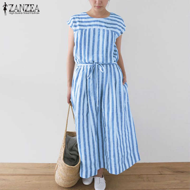 b413019740fe Women s Summer Sundress ZANZEA 2019 Plus Size Striped Dress Female Belt  Tunic Vestidos Sleeveless Linen Dress