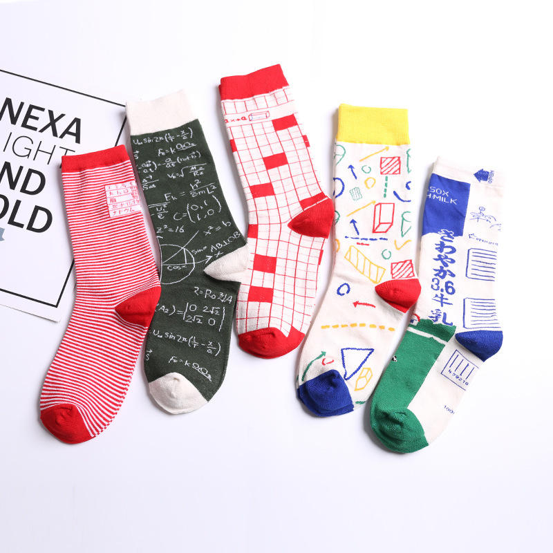 PEONFLY  Fashion Math Pattern Men Cotton Happy Socks Calculator Harajuku Novelty Funny Design Black Red Male Socks