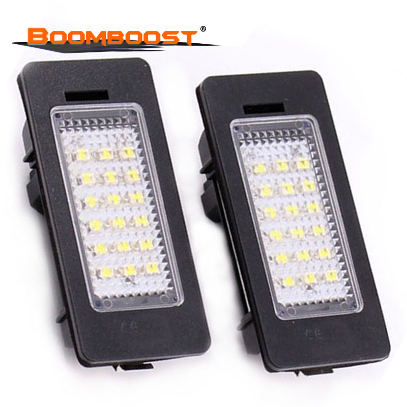 2Pcs LED Car Lights <font><b>12V</b></font> LED License plate lamp For BMW E39 M5 <font><b>E5</b></font> E90 E90 E92 E93 E70 E71 X5 X6 M3 Number plate Light 18SMD image