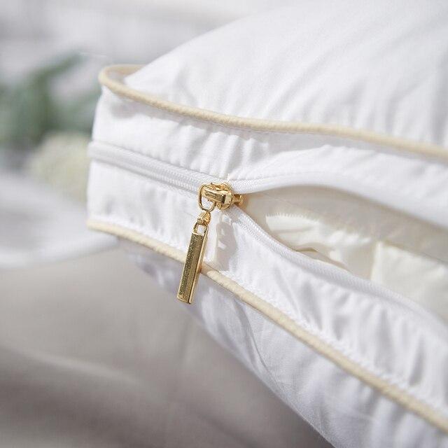 Almohada blanca 2 uds. Diseño de estilo nórdico ganso blanco abajo 800 relleno Power juegos de cama mi almohada 2019 3D protección del cuello