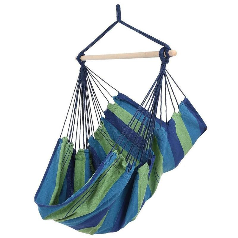 Indoor Outdoor Garden Hammock Hanging Rope Chair Swing Chair Seat with 2 Pillows Travel Camping Hammock Swing BedGarden Chairs   -