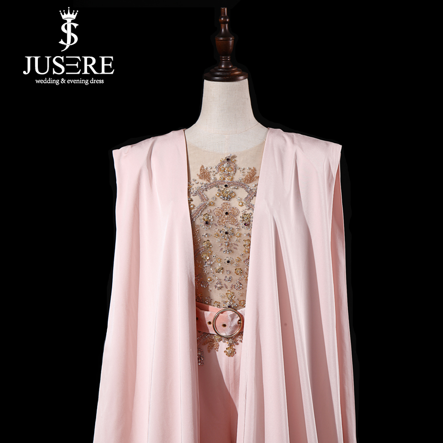Image 5 - JUSERE Real Picture 2019 Pink Runway Evening Dress with Pants Long Evening Dresses Vestido de festaProm Dresses   -