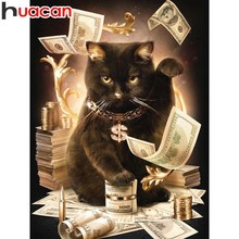 Huacan 5D Diamond Painting Cross Stitch Cat Full Square Embroidery Animal Rhinestone Handmade Decor Home