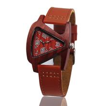 Retro Unisex Fashion Womens Mens Wooden Watch Genuine Leather Lovers Wristwatch