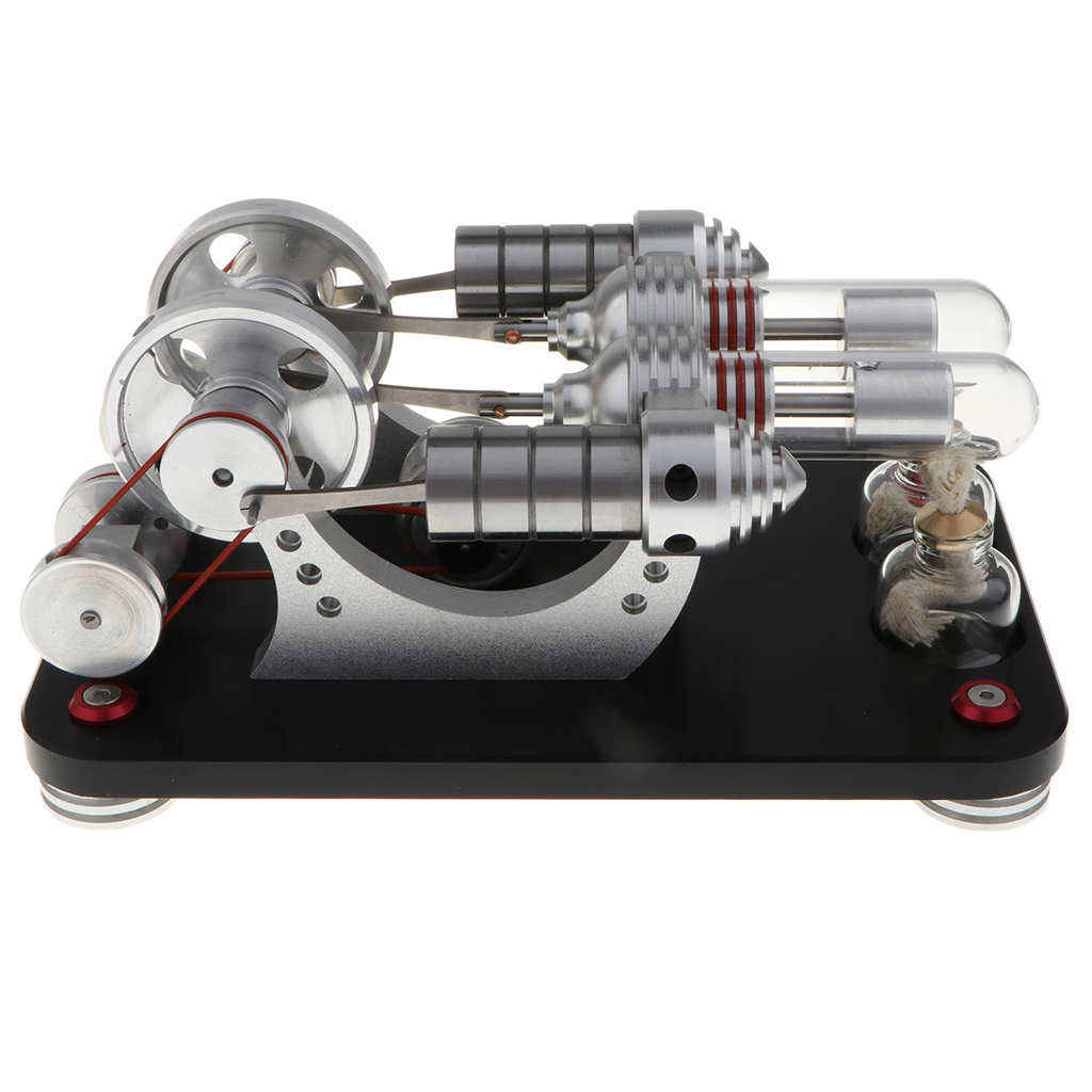 600 RPM Double-cylindre Double-volant moteur Stirling modèle vapeur chaleur moteur générateur physique Kits jouet éducatif