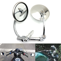 evomosa Motorcycle Mirrors Chopper Bobber Cruiser Bar End Side Rearview Mirrors For Cafe Racer Shadow VT 750 Sportster Softtail