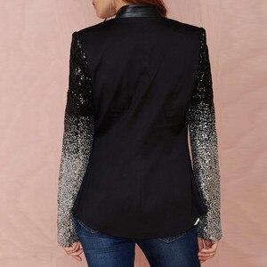 Image 3 - ZANZEA 2020 Women Thin Jacket Coat Long Sleeve Lapel Coat Patchwork Bling Silver Black Sequin Elegant Work Blazers Suit feminino