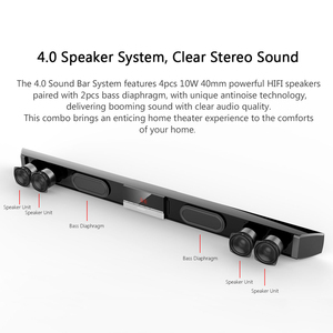 Image 4 - XGODY SR100 Plus Bluetooth Soundbar 40W Home Theater TV Sound Bar Wireless Speaker Aux In Coaxial Optical Subwoofer Speakers